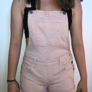Pink Forever 21 Overall Shorts